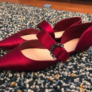 Zara red burgundy pointy flats